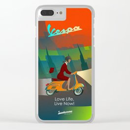 Vespa Girl. Love Life, Live Now! iPhone. Clear iPhone Case