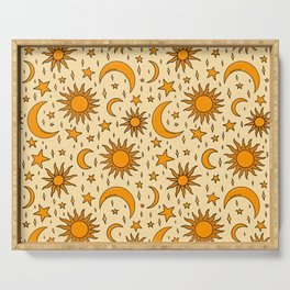 Vintage Sun and Star Print Serving Tray