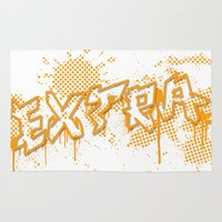 grafitti Area & Throw Rugs featuring extra splash orange grafitti design by sleepwalkerMTS
