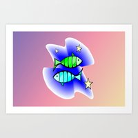 astrology Art Prints featuring Astrology, fish by Karl-Heinz Lüpke