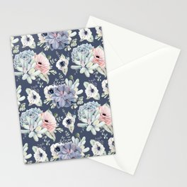 Beautiful Succulent Garden Navy Blue + Pink Stationery Cards