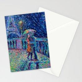 """Lovers in Rainy Paris"" - Palett knife figurative city landscape by Adriana Dziuba Stationery Cards"
