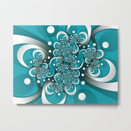Playful Blue And White, Modern Fractal Art Graphic Metal Print