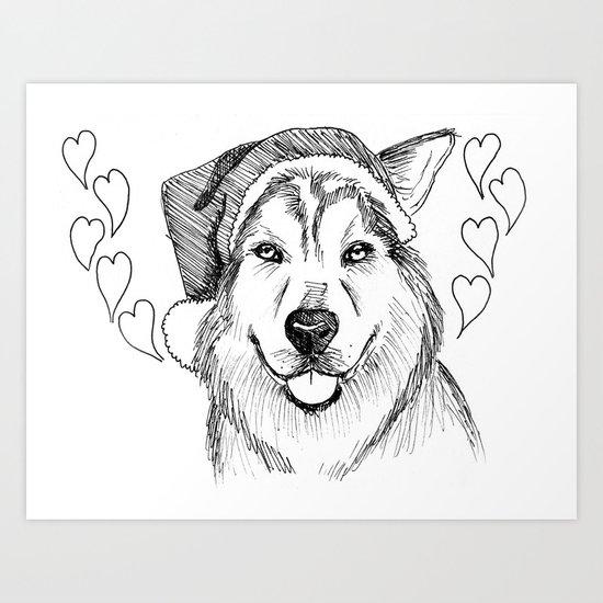 Husky Love Art Print