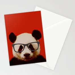 Portrait of Panda with Red Background Stationery Cards