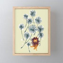 Lion on dandelion Framed Mini Art Print