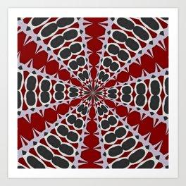 Red Black White Pattern Art Print