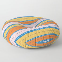 Stripes in Orange, Peach, and sky blue Floor Pillow