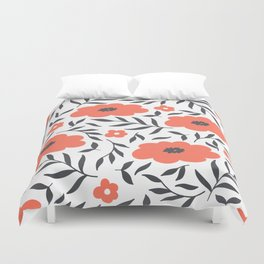 Red and Black Flowers Duvet Cover