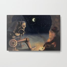 A Girl and her Robot Metal Print