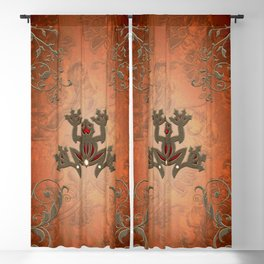 Wonderful decorative frog with floral elements Blackout Curtain