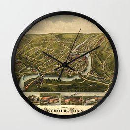 Aerial View of Seymour, Connecticut (1879) Wall Clock