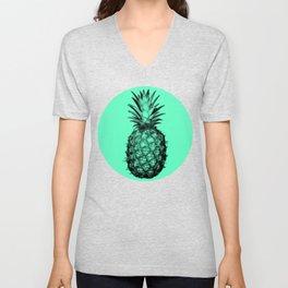 Pineapple! Black on mint green Unisex V-Neck
