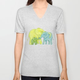 Elephant Family of Three in Yellow, Blue and Green Unisex V-Neck