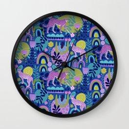Pink Cheetahs on Dark Blue Wall Clock