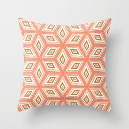 Living Coral Tilted Cubes Pattern Throw Pillow