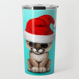 Christmas Cougar Wearing a Santa Hat Travel Mug