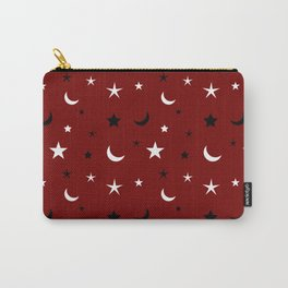 Red background with black and white moon and star pattern Carry-All Pouch