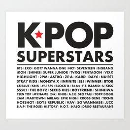 KPOP Superstars Original Boy Groups Merchandse Art Print