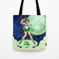 sailor jupiter Tote Bags featuring Sailor Jupiter by HaruShadows