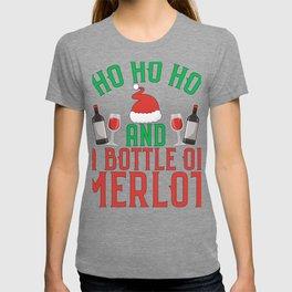 Ho Ho Ho and a Bottle of Merlot Christmas Wine Lover T-shirt