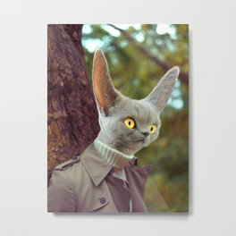 Alien Spy Cat in a Trench Coat Metal Print