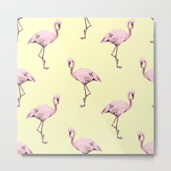 Flamingos in Flamingo Pink on Pale Yellow Metal Print