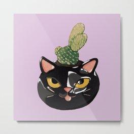 Cat Planter Metal Print