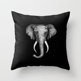 Elephant Head Trophy Throw Pillow