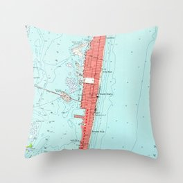 Vintage Seaside Heights NJ Map (1953) Throw Pillow