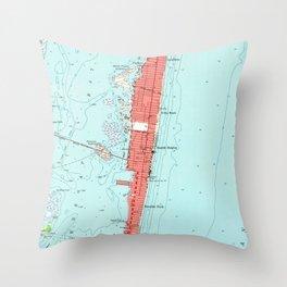 Vintage Seaside Heights NJ Map (1953) Throw Pillow