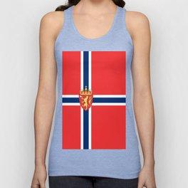 Flag of Norway Scandinavian Cross and Coat of Arms Unisex Tank Top