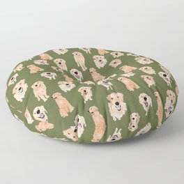 Golden Retriever on Green Floor Pillow