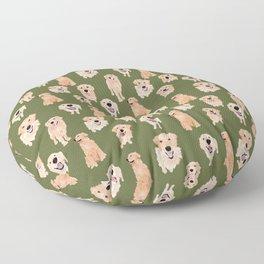 Golden Retriever on Green Floor Pillow