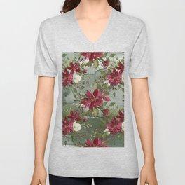 Watercolor botanical green burgundy ivory floral Unisex V-Neck