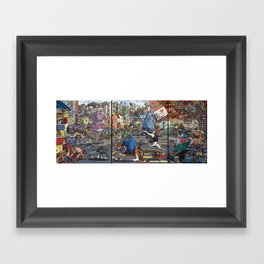 Teenage Animal Play Scene Framed Art Print