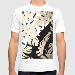 Simply Tropical Midnight Black Memphis Palm Leaves T-shirt