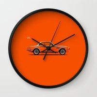 bmw Wall Clocks featuring BMW CSL by Mark Rogan