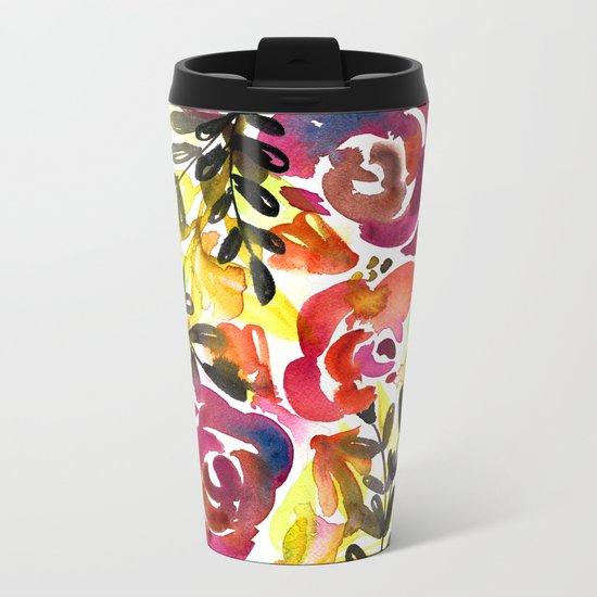 Violet Roses Metal Travel Mug