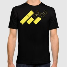 I Like You Graphik: Yellow Type MEDIUM Mens Fitted Tee Black