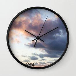 Cotton Candy Palms Wall Clock