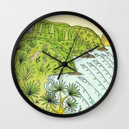 pointbreaks in paradise // lookout in raglan new zealand // retro surf art by surfy birdy Wall Clock