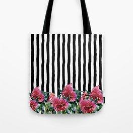 Black white brushstrokes pink watercolor floral stripes Tote Bag