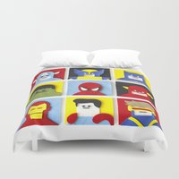 heroes Duvet Covers featuring Felt Heroes by Jacopo Rosati