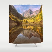 mountains Shower Curtains featuring mountains. Mirror Lake by 2sweet4words Designs