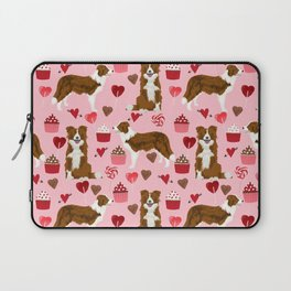 Border Collie red coat cupcakes valentines hearts dog breed pet friendly gifts for collie lovers Laptop Sleeve