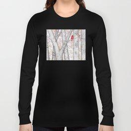 cardinals and birch trees Long Sleeve T-shirt