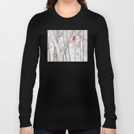 cardinals and birch trees Long Sleeve T-shirt