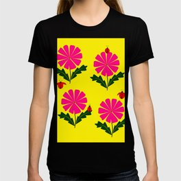 Lady Bugs and Pink Flowers T-shirt