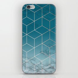 Gold Geometric Cubes Teal Marble Deco Design iPhone Skin